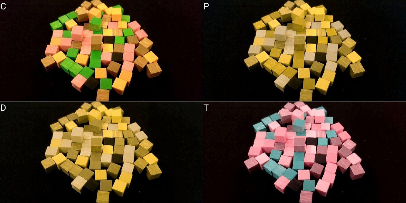 Colour blind cubes