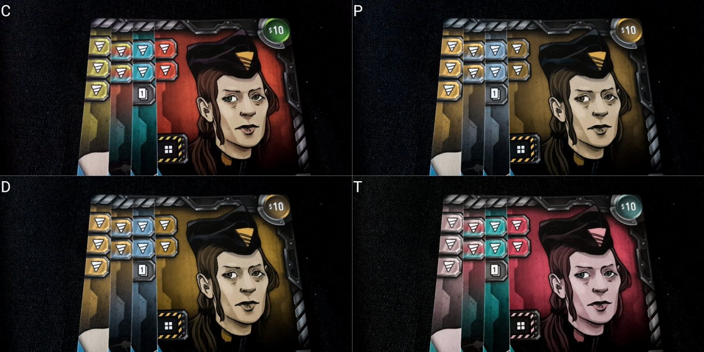 Driller cards with colour blind filter