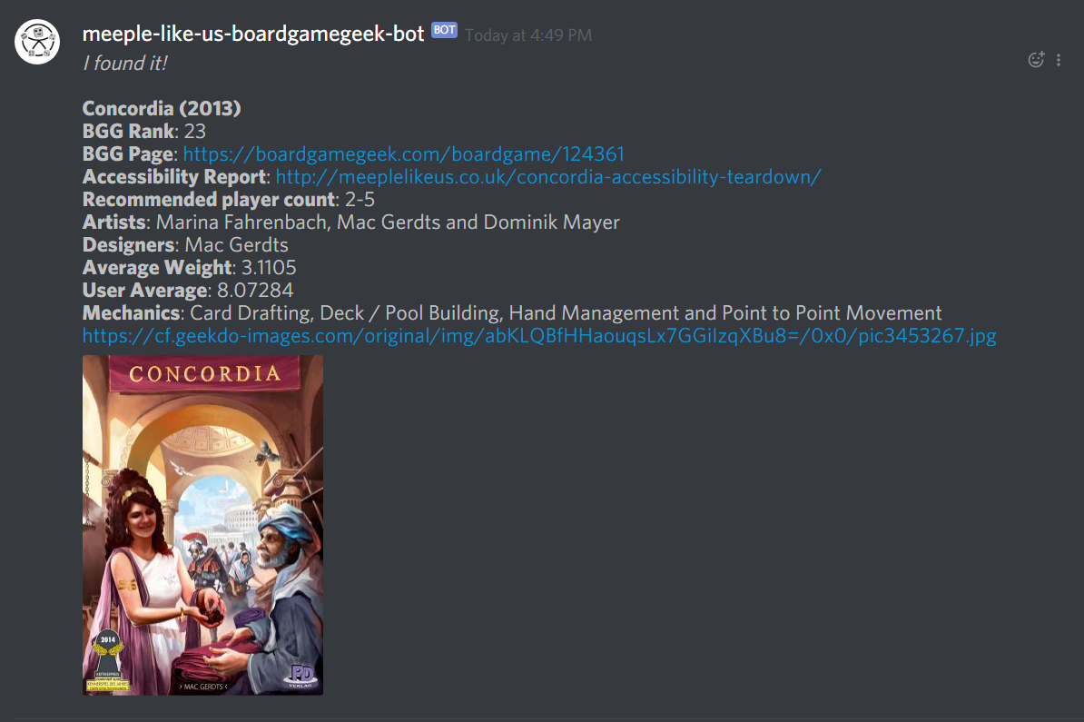 Game details for Concordia from the MLU BGG Discord bot