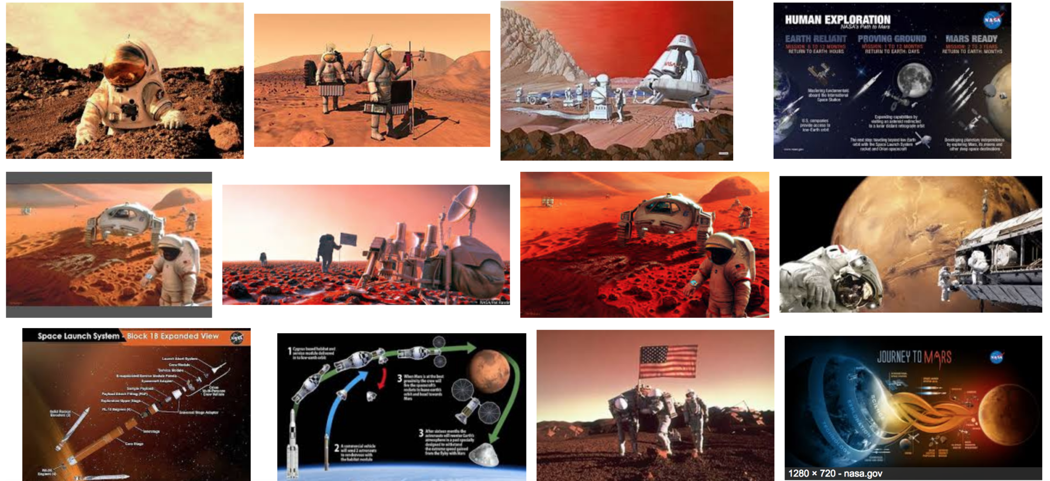 A sea of cool pictures of mars and spaceships and the frontiers of human potential