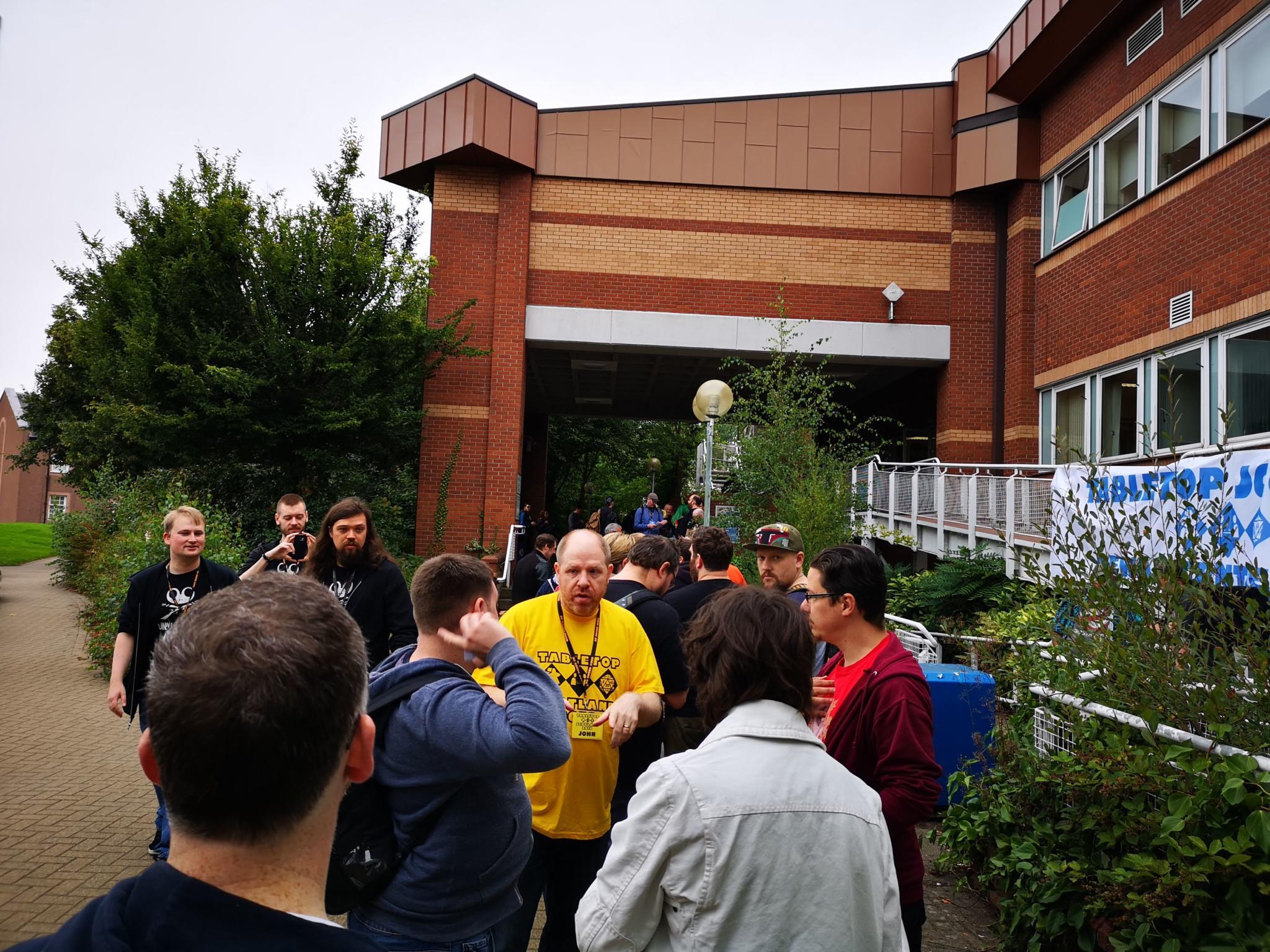 The queue outside Tabletop Scotland