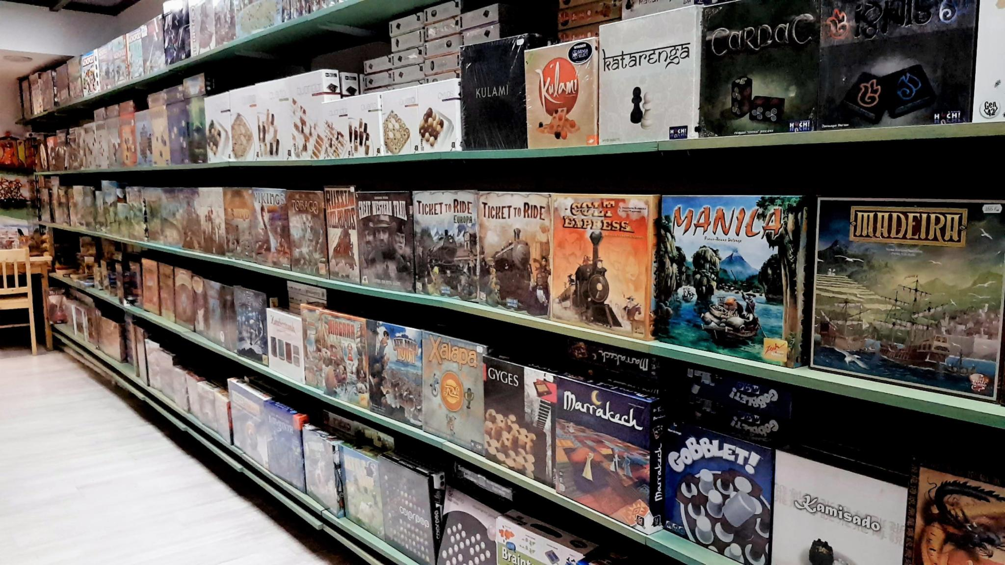Shelves of games from Romania