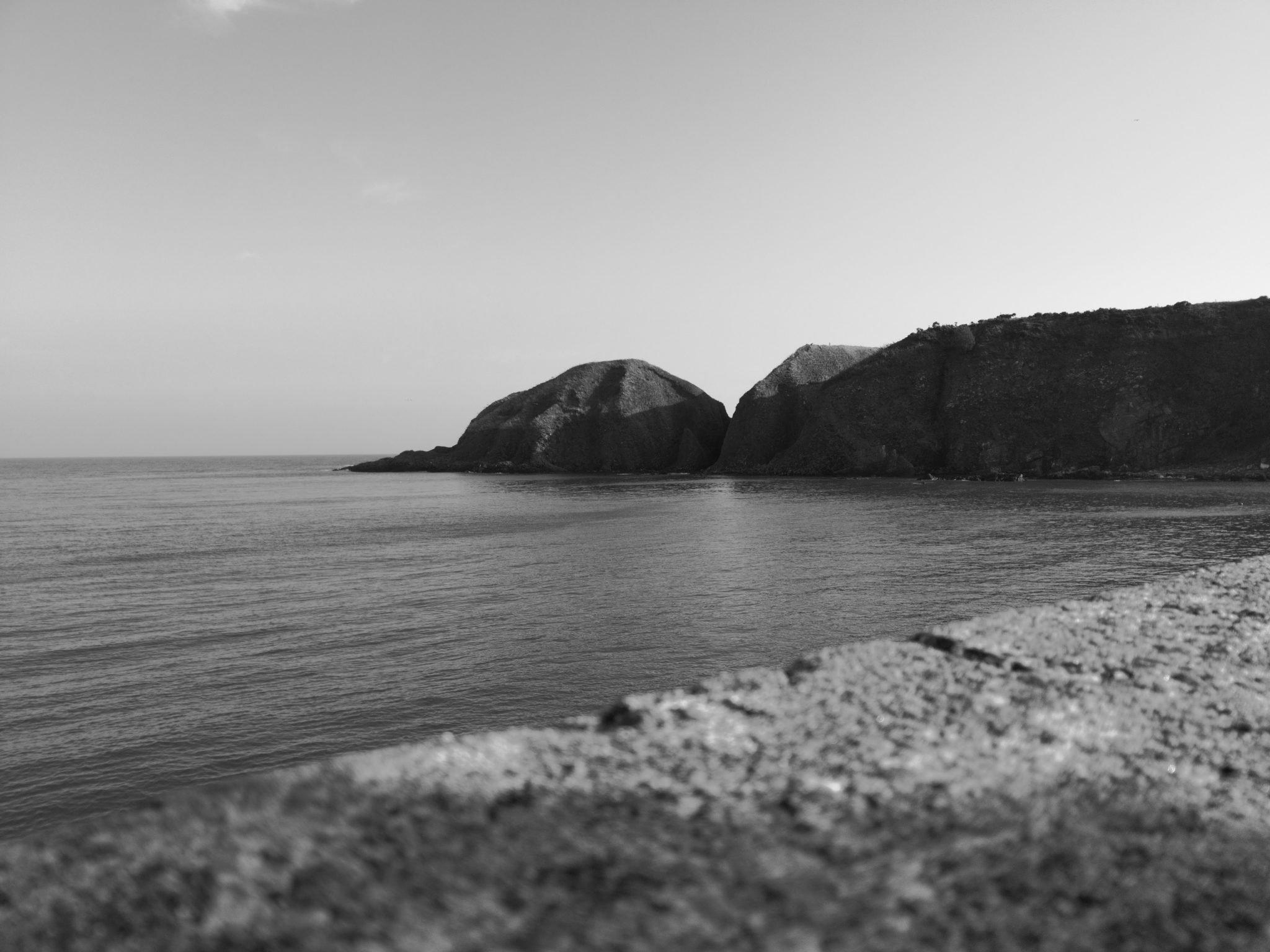 Black and White Stonehaven coast