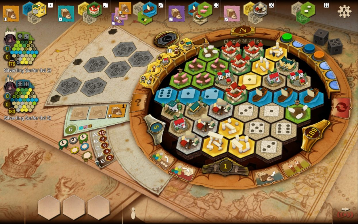 In progress game of Castles of Burgundy